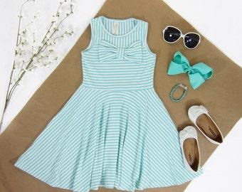 Girls Mint Striped Dress with Full Twirly Skirt Sizes 2/3, 4/5, 6/6X, 7/8, 10/12 Ready to Ship