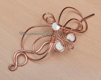 CopperHair  berratte ,hair bun,wire wrapped hair slide,Hair Accessories,hair brooch