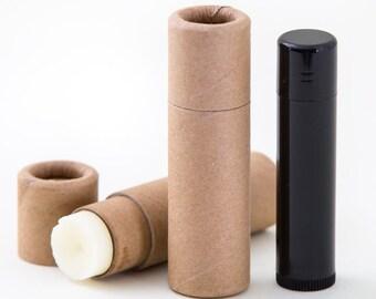 Eco Friendly Petite 1/3 OZ Kraft Lip  Balm Tubes  -    Kraft Cardboard 100% Biodegradable Cosmetic Push Up Tubes  -  12 PACK