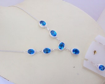 free shipping F-211 Stunning Faceted Blue topaz Stone .925 Silver Handmade Jewelry Necklace