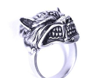 Stainless Steel Wolf's Head Ring