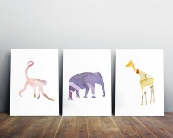 Nursery Elephant Monkey and Giraffe Watercolor illustration - Set 3 prints - Wall Decor yellow pink lilac Animal Paintings - Watercolour