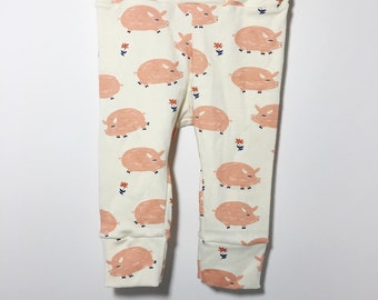 Organic Cotton Knit piggies,pigs,little pink cream white Girl pastel,Baby,Infant,Toddler leggings, pants,stretch,photo prop,take home outfit