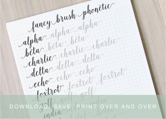 Intermediate Fancy Brush Lettering Worksheets by InkMeThis on Etsy