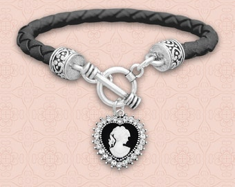 Heart Cameo Leather Bracelet - 50431