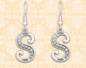 S Initial Earrings - 54360