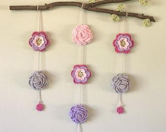 Hanging Flower Crochet Art