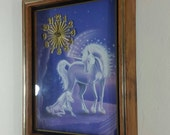 70s Purple Unicorn Wall Clock