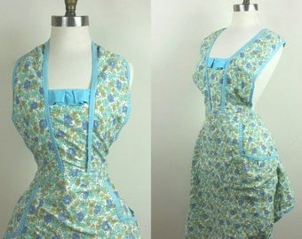 50s Full Apron Floral with Pockets One Size