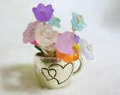 Miniature Flowers in tiny silver cup, mini floral home decor, your choice of flower types, but  no 2 alike, also custom orders