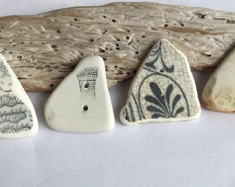Medium hand made,Scottish Sea Pottery Buttons  B 25.8.16.6