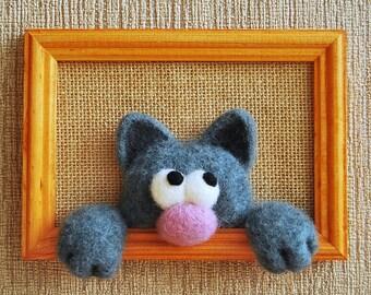 3D Wall Art/Nursery decor/Children's room decor/Kitten/Pet Portrait/Wall decor/Baby gift/Fiber Arts/Kitten wool/Cat Nursery Art/Cat picture