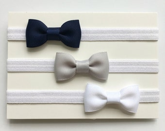 Tiny Bow Headband - Navy Blue Headband - Gray Headband - White Headband - Baby Headband - Newborn Headband - Tiny Bows
