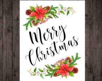 Merry Christmas Printable - Digital Download - Watercolor Christmas Art - Christmas Prints - Holiday Print - Christmas Decor - Wall Art
