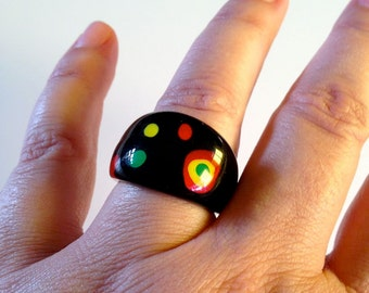 Retro Cocktail Ring - Africa Colors - Resin - Vintage Jewelry for Women
