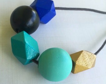 Wooden geometric bead necklace / painted wooden beads / blue aqua gold beads /
