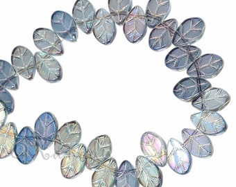 Glass Leaves - 20/50/100 Wholesale Aurora Borealis AB Finish Glass Leaf  Beads For Jewelry Making G3309