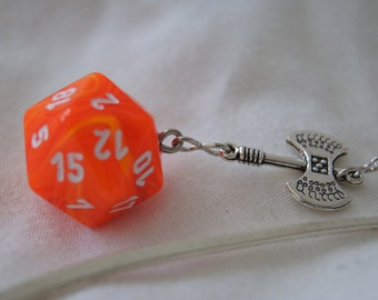 Marbled Orange D20 and Ax Bookmark