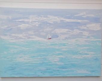 Large Original Art painting impressionist Large Seascape painting Summer seascape painting Original seascape painting   Andi J Lucas
