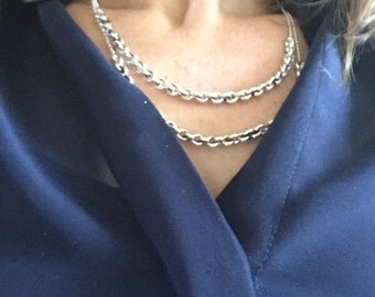 Modern Silver Necklace with Antique Belcher