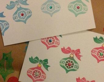 Set of 2 Christmas  cards! Handmade  original   unique  seasonal  greeting cards