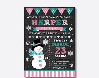 Snowman Birthday Invitation, Snowman Invitation, Christmas Invitation, Christmas Party Invitation, Personalized, Chalkboard (CKB.193)