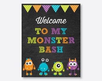 Instant Download, Monster Welcome Sign, Monster Birthday Sign, Monster Door Sign, Monster Party Printable Sign, Chalkboard (CKB.21)