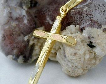 Cross pendant tricolor, 9K GOLD