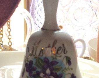Porcelain Hand Crafted Bell Violets Vintage Mother