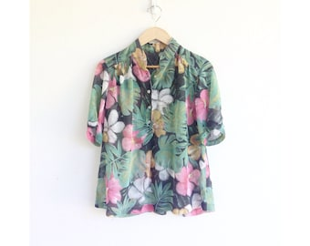 the sophisticate hawaiian vintage semisheer blouse - 1940s 1950s semisheer hibiscus print blouse - vintage botanical print cotton blouse