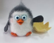 Penguin. Neddle Felted Penguin. Neddle Felted Animal. Miniature. Felt Penguin. Soft Sculpture. Made to Order.