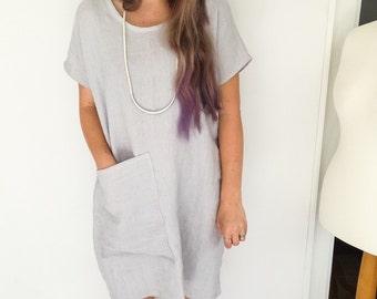 Soft pale grey/blue fine linen tunic dress/top, handmade, pocket, UK
