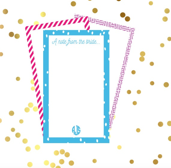 Bride to be notepad, personalized notepad, monogrammed notepad, A note from the bride, Engagement gift, wedding notes, wedding stationery