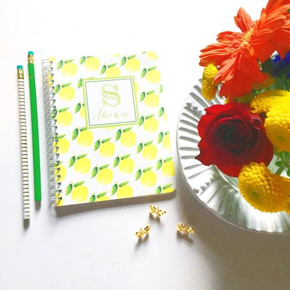 Personalized notebook, fruity spiral notebook, monogrammed notebook, custom notebook, preppy notebook, lemon stationery, summer stationery