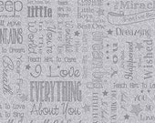 Grey First Words-RJR Fabric-Quilting Fabric-Sewing Fabric-Backing Fabric-Words Fabric-Fat Quarter-Fabric by the Yard-Yardage-Grey Fabric