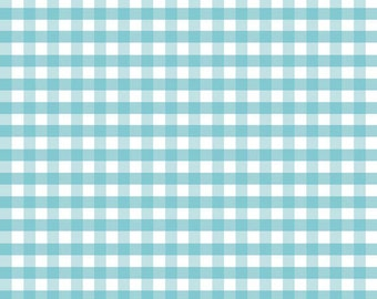 Aqua Fabric by the Yard - Fat Quarter Bundle - Quilt Fabric - Gingham Fabric - Aqua Gingham - Riley Blake Designs - Medium Gingham Aqua