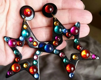 Vintage Black Star Dangle Earrings with Multicolored Faux Cabochons