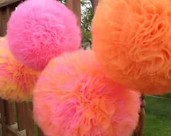 Tulle Pom Poms, Set of 6, tulle pom poms,Tutu party decoration,wedding decoration baby shower Centerpiece,Wedding pom poms