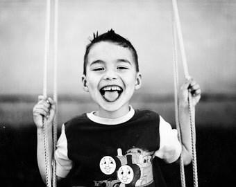 Bliss, original fine art photography, print, kid, child, happy, laugh, black and white, monochrome, home, hungary, makó, summer