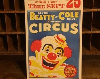 1960's original King bros circus poster on card
