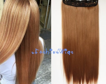 Honey Blonde Solid Color Clips in Hair Extension, High Heat Resistant Synthetic Hair Extensions UF27