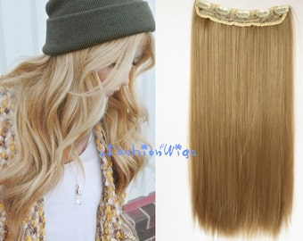Medium Blonde Solid Color Clips in Hair Extension, High Heat Resistant Synthetic Hair Extensions UF22