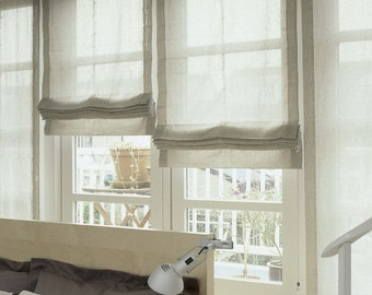 "Relaxed Sheer Linen Roman Shade ""Lucky Grey"" with chain mechanism, Linen Roman Shades, Window Treatments, Ready to made"