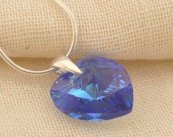 Swarovski Crystal Heart Sterling Silver Pendant - Sapphire AB