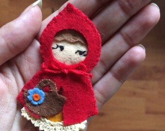 Brooch little Red Riding Hood, fairy brooch