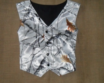 Boys and Men Vest (TT Fall White satin shown in pic # 10 in fabric list 22 other camo colors. see description for Men sizes
