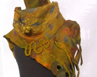 Nuno Felted Scarf Shades of Gold Color; Earthly Colors; OOAK; Eco-Fashion; Woman's Stole