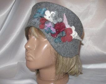 Felted hat handmade wool cardoons