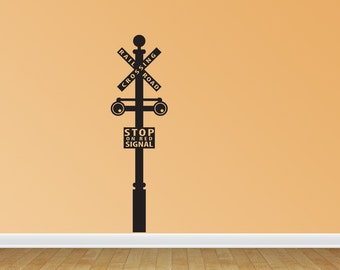 Railroad Crossing Sign Decal Train Crossing Wall Decal Removable Train Wall Art (J708)