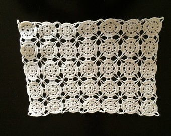 Crocheted vintage lace rectangular doily